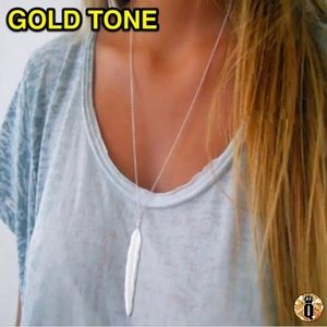 Jewelry - ⚜️[𝟯/$𝟭𝟴]⚜️Gold Feather Long Boho Necklace New